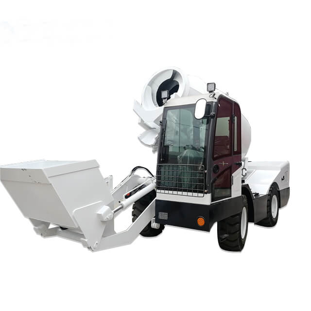 2.5cbm self-loading concrete mixer truck with weighing