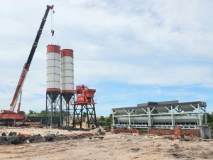 Indonesia 75m3 concrete batching plant for house construction